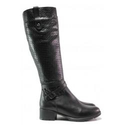 Стилни ботуши, дамски, естествена кожа, среден ток, атрактивни, кроко ефект / Ани Irma-01 черен / MES.BG