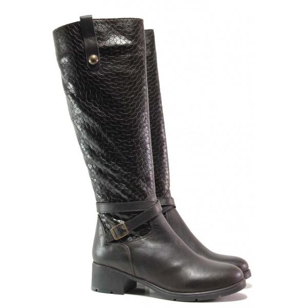 Дамски ботуши, естествена кожа с кроко мотив, среден ток, стилни / Ани Irma-01 кафяв / MES.BG