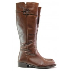 Дамски ботуши от естествена кожа, равни, анатомични, закопчаване - цип, ежедневни / Ани 53355 таба / MES.BG