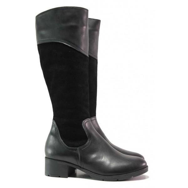 Дамски ботуши, естествена кожа и естествен велур, равни, анатомични, класически модел / Ани IRMA-03 черен / MES.BG