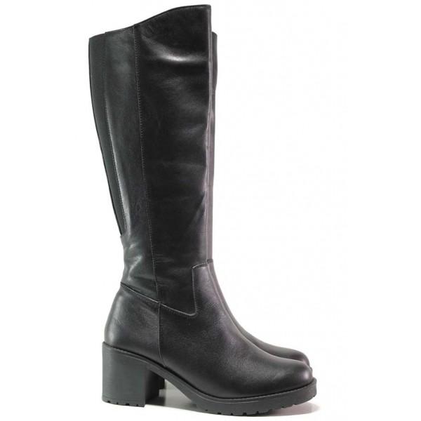 Черни ботуши, дамски, естествена кожа, на ток, ежедневен модел / Ани Monako-10 черен / MES.BG