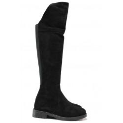 Дамски ботуши, тип чизми, естествен велур, изчистени, подчертават крака / Ани KANN-06 черен велур / MES.BG