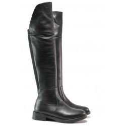 Дамски ботуши - тип чизми, естествена кожа, класически, атрактивен акцент към тоалета / Ани KANN-06 черен кожа / MES.BG