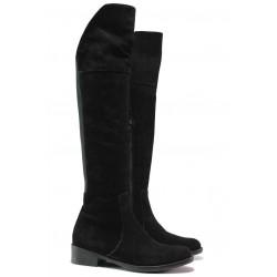 Стилни дамски ботуши - чизми, естествен велур, анатомични, български, над коляното / Ани Silvia-02 черен / MES.BG
