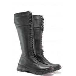 Български дамски ботуши, тип кубинки, равни, до коляното, естествена кожа, анатомични / Ани TESS-06 черен / MES.BG