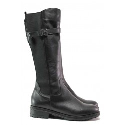 Дамски анатомични ботуши, равни, естествена кожа, за широк крак / Ани Modena-03 черен / MES.BG