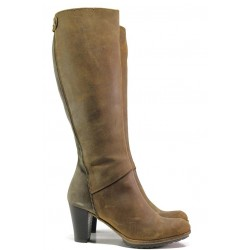 Стилни дамски ботуши, естествена кожа, анатомични, български, висок ток / Ани 33539 кафяв / MES.BG