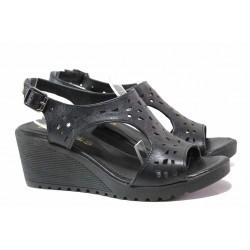 Български дамски сандали, естествена кожа, платформа с удобна височина / Ани IVA 03 черен / MES.BG