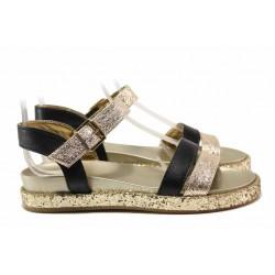 Български анатомични сандали в златист цвят, равно ходило, закопчаване-катарама / Ани 2686 черен-злато / MES.BG