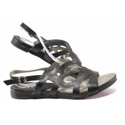 Комфортни дамски сандали, равни, анатомично ходило / Ани 52200 черен / MES.BG