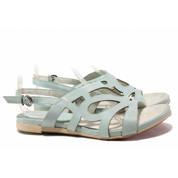 Български дамски сандали, анатомично ходило, закопчаване-катарама / Ани 52200 зелен / MES.BG