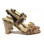 Български дамски сандали, стабилен висок ток, висококачествени материали / Ани 1541 кафяв / MES.BG