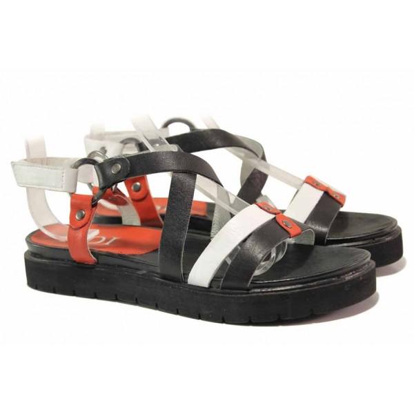 Български дамски сандали с асиметрични ленти, анатомично ходило, велкро / Ани 52201 бял-черен-червен / MES.BG