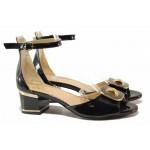 Елегантни дамски сандали, среден ток, естествена кожа-лак, затворена пета / Ани 1830 черен лак / MES.BG