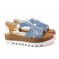 Комфортни дамски сандали, естествена кожа, за широк крак, ластици / Ани 02 син / MES.BG