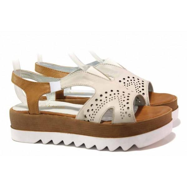 Български дамски сандали на платформа, естествена кожа, ластици, за широк крак / Ани 02 бежов / MES.BG