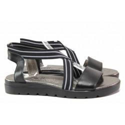 Български дамски сандали с ластици, анатомично ходило, равни / Ани 2610 черен / MES.BG