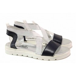 Равни дамски сандали с ластици, естествена кожа, анатомично ходило / Ани 2610 бял / MES.BG