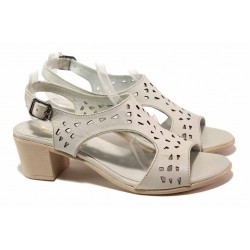 Дамски сандали на среден ток, естествена кожа, интересна перфорация / Ани EDA-01 бежов / MES.BG