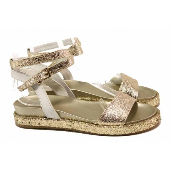 Комфортни дамски сандали, каишка около глезена, естествена кожа / Ани 2680 злато / MES.BG