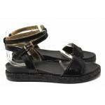 Равни дамски сандали, естествена кожа, анатомично ходило / Ани 2680 черен-змия / MES.BG