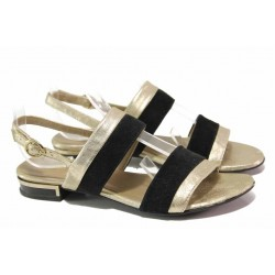 Български дамски сандали, анатомични, катарама, естествена кожа / Ани 1815 черен-злато / MES.BG