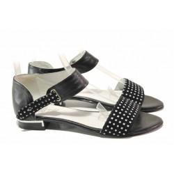 Български дамски сандали с велкро закопчаване, затворена пета, естествена кожа / Ани 2072 черен / MES.BG