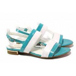 Стилни дамски сандали в тюркоазено синьо, естествена кожа-лак, катарама / Ани 1815 бял-син / MES.BG