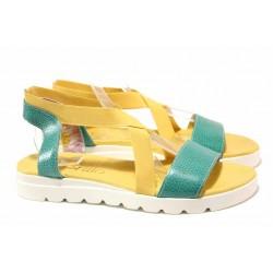 Равни дамски сандали, естествена кожа, ластици за удобно обуване / Ани 2610 тюркоаз-жълт / MES.BG