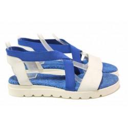 Равни дамски сандали, анатомични, естествена кожа, закопчаване-ластици / Ани 2610 бял-син / MES.BG