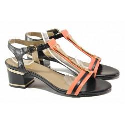 Стилен модел дамски сандали с декоративни елементи, среден ток, естествена кожа / Ани 1827 черен-корал / MES.BG