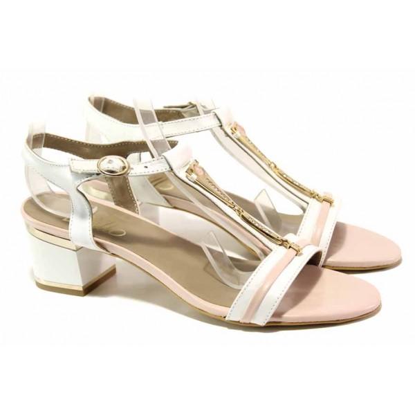 Стилен модел дамски сандали на среден ток, естествена кожа, закопчаване-катарама / Ани 1827 бял-розов / MES.BG