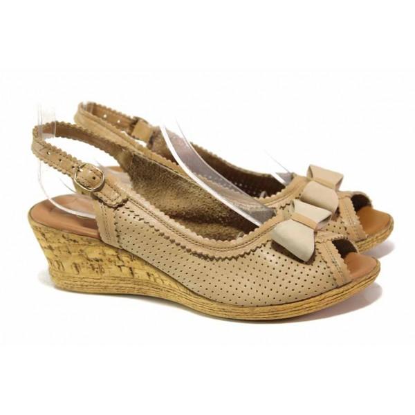 Анатомични дамски сандали на платформа, естествена кожа, ефектна декорация / Ани 1843 бежов / MES.BG