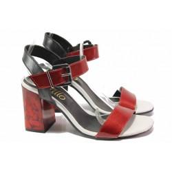 Дамски сандали на висок ток, естествена кожа, широк ток, катарама / Ани 1813 черен-червен / MES.BG