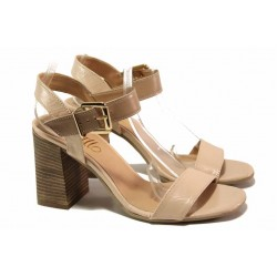 Дамски сандали на стабилен ток, естествена кожа, каишка с катарама около глезена / Ани 1813 пудра-кафяв / MES.BG