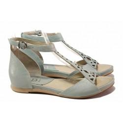 Комфортни дамски сандали със затворена пета, естествена кожа, каишка при глезена / Ани 52205 циан / MES.BG