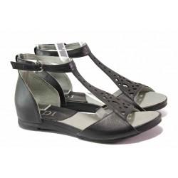 Комфортни дамски сандали със затворена пета, естествена кожа, анатомични / Ани 52205 черен / MES.BG