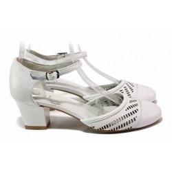 Анатомични дамски обувки, естествена кожа, нежна перфорация / Ани 51541 бял / MES.BG