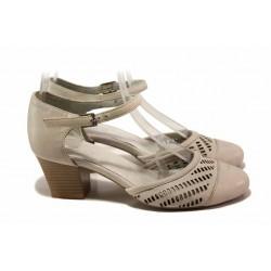Български дамски обувки на среден ток, естествена кожа, перфорация / Ани 51541 бежов / MES.BG