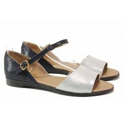 Равни дамски сандали в актуален дизайн, затворена пета, сребриста лента, естествена кожа / Ани MARINA-03 син-сребро / MES.BG