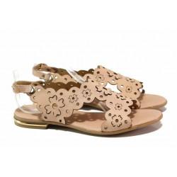 Български дамски сандали, равни, декоративна перфорация, естествена кожа / Ани 1829 пудра / MES.BG