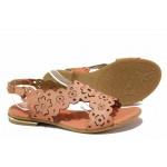 Ефектни дамски сандали, равно ходило, декоративна перфорация, естествена кожа / Ани 1829 корал / MES.BG