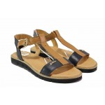 Равни дамски сандали, анатомични, естествена кожа, катарама / Ани 2640 син-кафяв / MES.BG