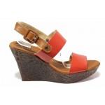 Български дамски сандали, актуален цвят, естествена кожа-лак, висока платформа / Ани 2394 червен / MES.BG