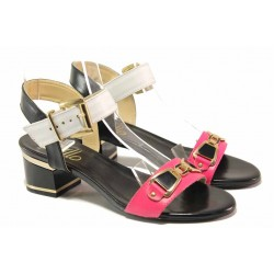 Български дамски сандали, контрастираща цветова гама, естествена кожа-лак / Ани 1809 бял-циклама / MES.BG