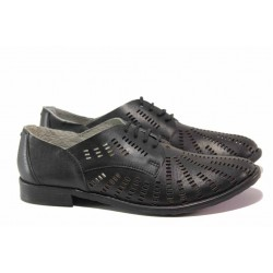 Български равни обувки с прфорация, естествена кожа, връзки, анатомични / Ани 51301 черен / MES.BG