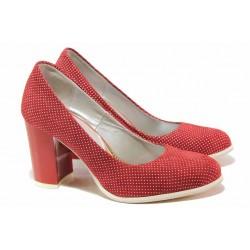 Стилни дамски обувки, висококачествен естествен велур, висок ток / Ани 2340 червен / MES.BG