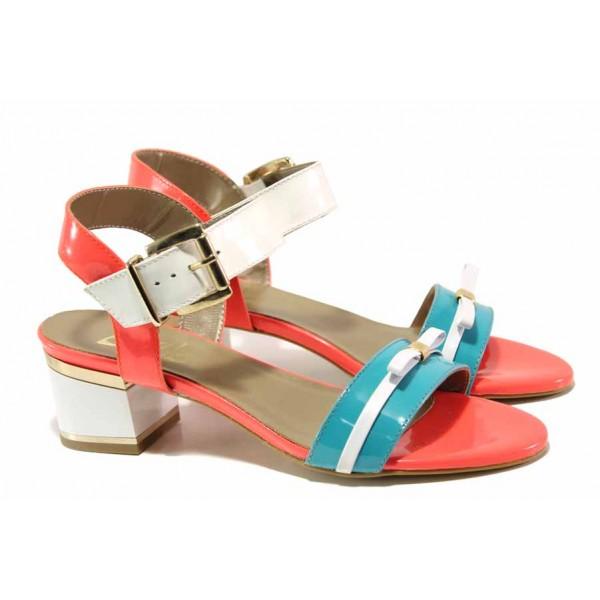 Стилни дамски сандали в тюркоазено зелено, естествена кожа-лак, среден ток / Ани 1826 зелен-бял-оранжев / MES.BG