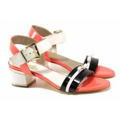 Стилни дамски сандали, естествена кожа-лак, среден ток / Ани 1826 черен-бял-оранжев / MES.BG