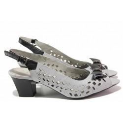 Български дамски сандали на среден ток, красива перфорация, декоративна панделка / Ани 51351 сив / MES.BG